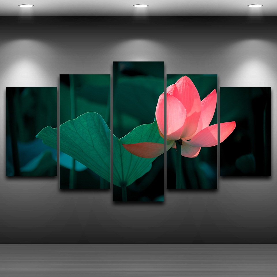 Canvas pictures hd prints wall art home decor living room 5 pieces canvas pictures hd prints wall art home decor living room 5 pieces pink lotus flower painting lotus leaf poster unframed in painting calligraphy from home izmirmasajfo