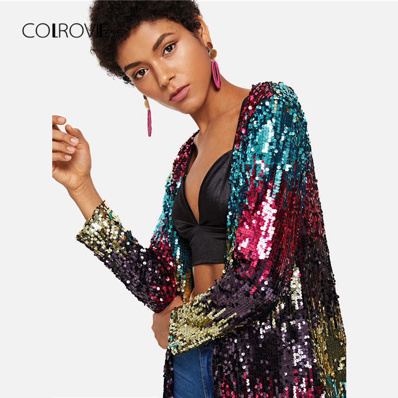 5256027b80569 ... COLROVIE Sequin Open Front Sexy Kimono Vintage Cardigan Ladies 2018  Autumn Night Out Long Sleeve Women ...