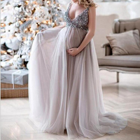 Sexy V Neck Sequins design Maternity Dresses For Photo Shoot Maternity Photography Props Pregnancy Dresses For Pregnant Women