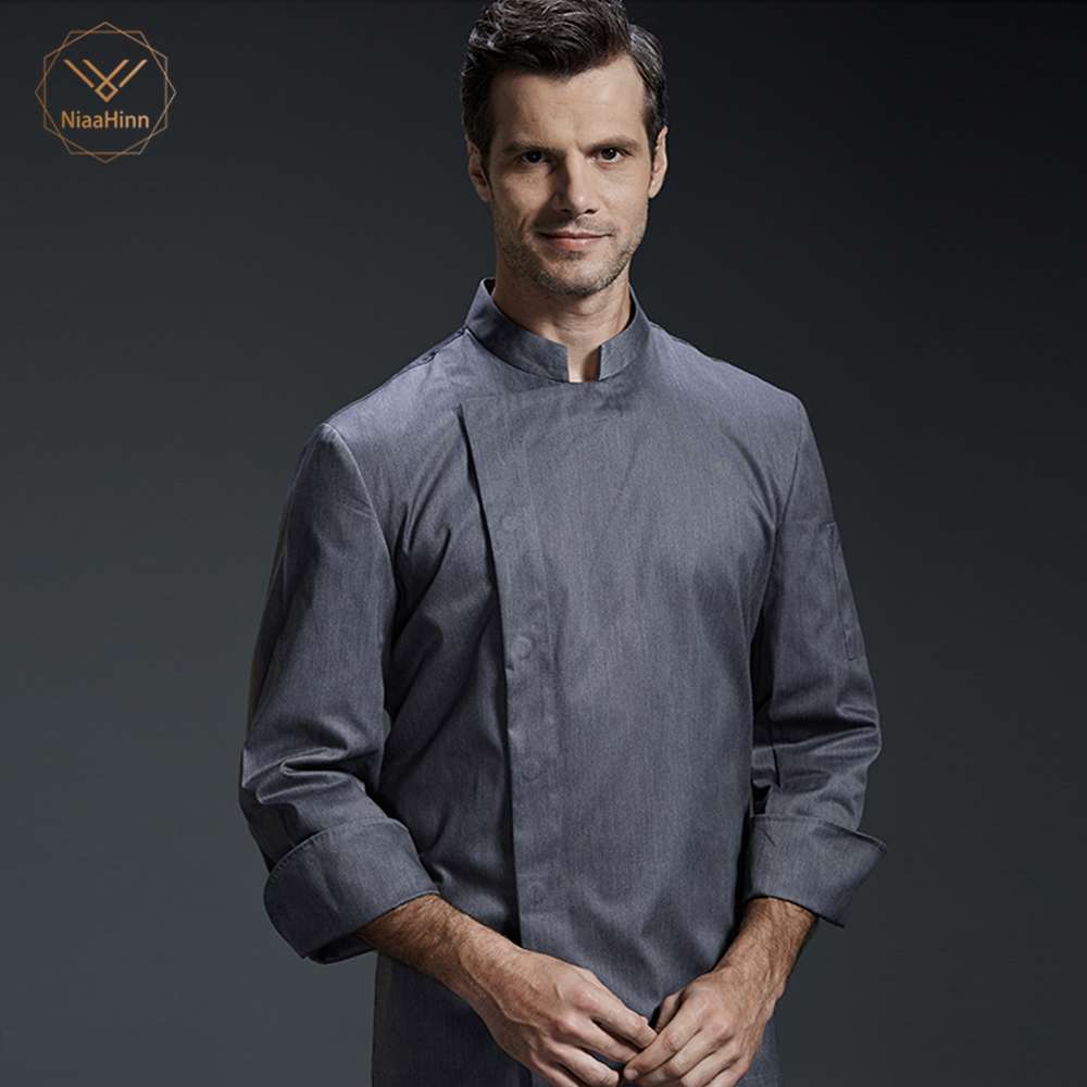 High Quality Food Service Long Sleeve Professional Head Chef Uniform Restaurant Hotel Kitchen Grey Chef Jacket Chef Coat 2018hat