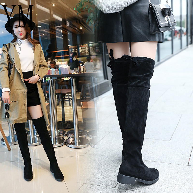 Fashion 2018 New Hot Women Boots Autumn Winter Ladies Flat Bottom Boots Shoes Over The Knee Thigh High Black Suede Long Boots 40