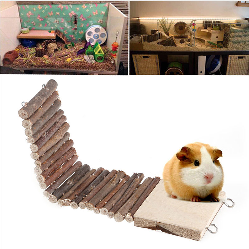 Funny Pet Mouse Hamster Rat Bird Ladder Bridge Suspended Log Wooden Deck Toy Small Animals Supplies