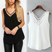 New Womens Tops Fashion 2017 Women Summer Chiffon Blouse Plus Size S To 3XL Sleeveless Casual Shirt  Black White Clors