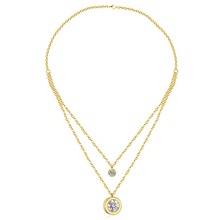 Hot 316L Stainless Steel Women Men Fashion Jewelry CZ Double Pendants Necklace Gold Silver Color
