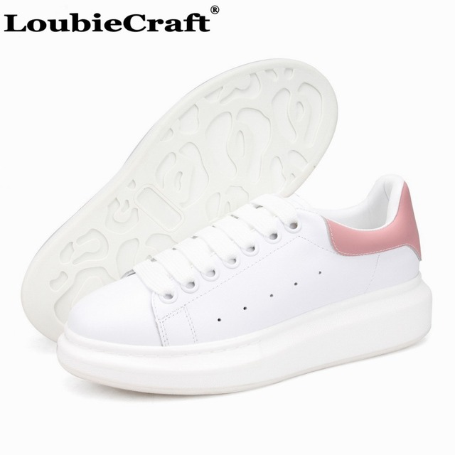 US $103 98 |oversized sole Sneakers Platform Shoes Low top Casual Shoes  Women Creepers Shoes Travel Shoes Flats White Genuine Leather 35 43-in  Women's