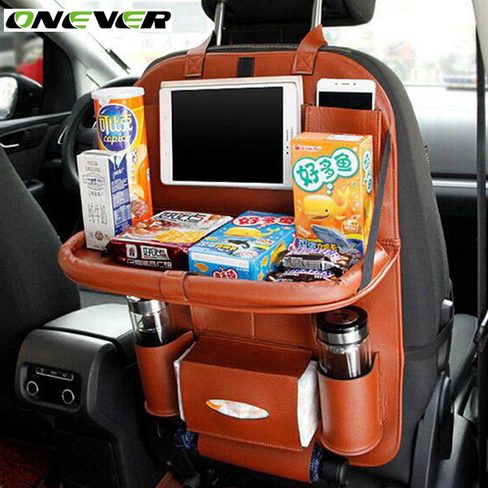 Onever Car Seat Back Hanging Organizer Bag Universal Auto Multi-pocket PU Leather Pad Cups Storage Holder Bag Foldable Shelf(China)