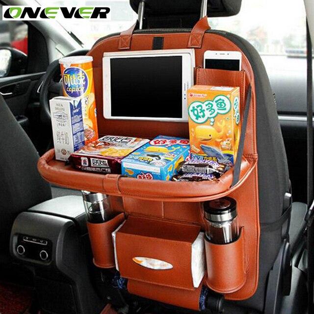 Onever Car Seat Back Hanging Organizer Bag Universal Auto Multi-pocket PU Leather Pad Cups Storage Holder Bag Foldable Shelf