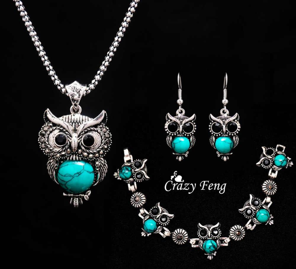 Модный винтажный комплект ювелирных изделий в форме совы, 3 цвета, старинный серебряный кулон, ожерелье, серьги, браслеты, женские вечерние комплекты