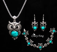 Fashion Vintage Owl Shape 3 colors Stone Jewelry Sets Ancient Silver-color Pendant Necklace Earrings Bracelets Set Ladies Party(China)