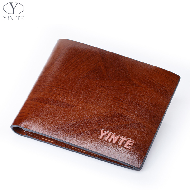 YINTE Leather Wallet Men's Credit Card ID Holder Money Clip Purse Hard Wallet Free Shipping Brown Wallet Portfolio T8842C