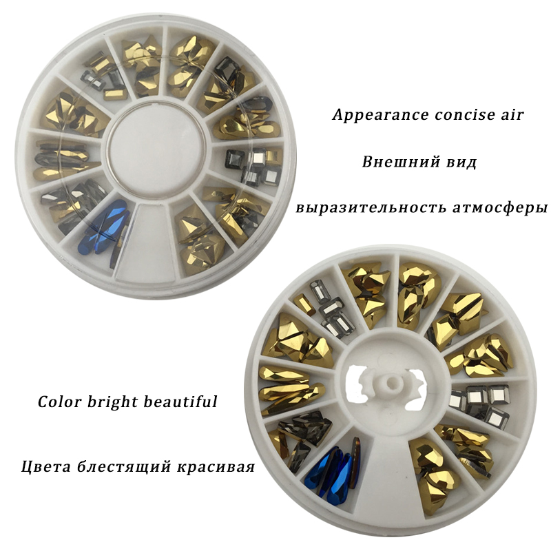 1 wheel Aurum Crystals Nail Diamond Stone Strass Gold Retro Design Glass Rhinestones For 3D Nails Art Decorations mix Jewelry in Rhinestones Decorations from Beauty Health