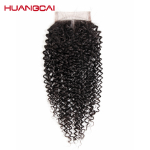 Huangcai Curly Human Hair Middle Part Closure 4×4 Hand Tied Non Remy 8-18 Inch 130% Density Natural Black Color