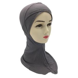 Cross Cover Inner Hijab Cap Lady Headwear Bone Bonnet Muslim Hijab Rhinestone Women Scarf Hijabs Islamic Neck Cover Bonnet