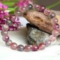 Alta Qualidade Natural Genuine Multi Cores Mix Super Seven 7 Acabamento Trecho Pulseira Rodada Beads Pedra Melodia 8mm 04000