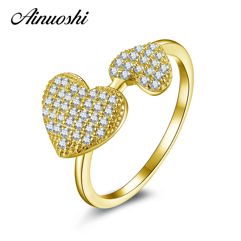 AINUOSHI 10K Solid Yellow Gold Engagement Ring Female Elegant Wedding Jewelry 2 Heart Shape SONA Simulated Diamond Women Ring solid gold heart ring band elegant women ring