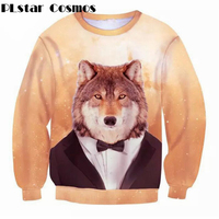 PLstar Cosmos Harajuku Style Women Men 3d Long Sleeve Sweatshirt Galaxy Animal Wolf Giraffe Horse Pig