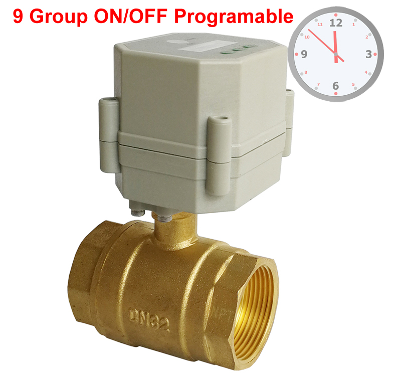 1 1/4'' DN32 Clock setting control brass valve,AC/DC9 24V or AC110v 230V Time Control Valve with 9 group programing