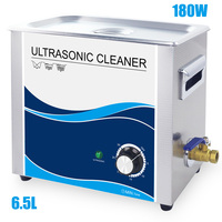 Cleaner Ultrasonic 6.5L Bath Piezoelectric Transducer 180W Ultrasound Wave Washer Stainless Steel Dental Teeth Engine Parts Oil