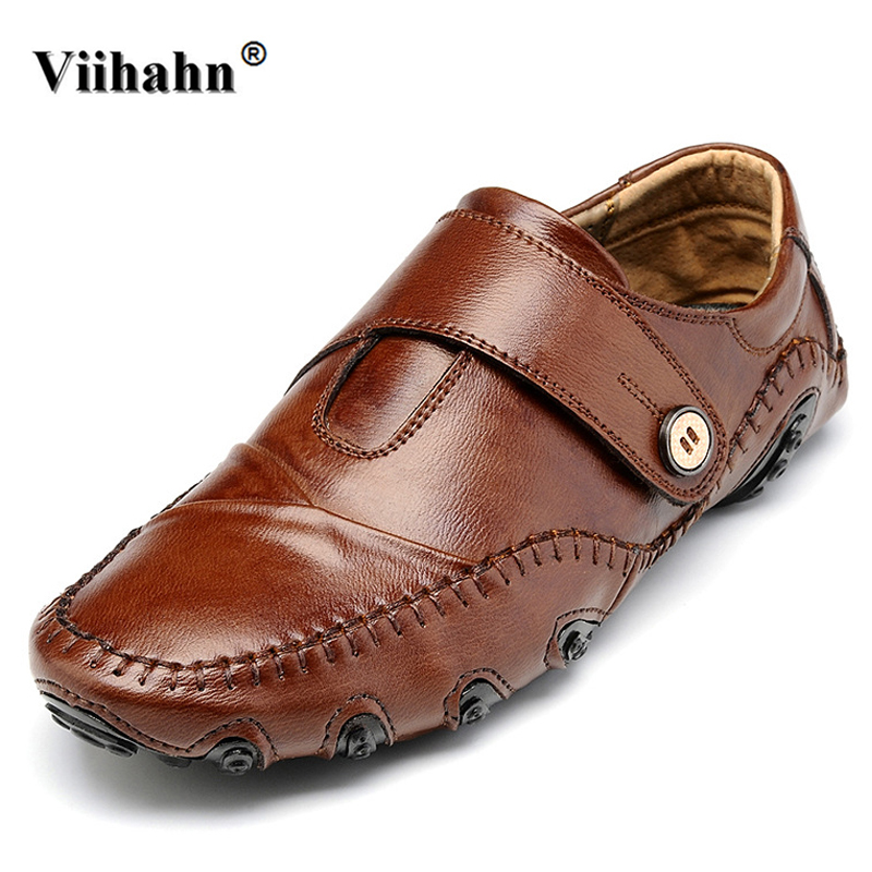 Viihahn Mens Loafers Men Casual Car Driving Shoes Male Soft Moccasins Genuine Leather Slip On Flats Shoes men s genuine leather casual shoes handmade loafers for male men waterproof flat driving shoes flats