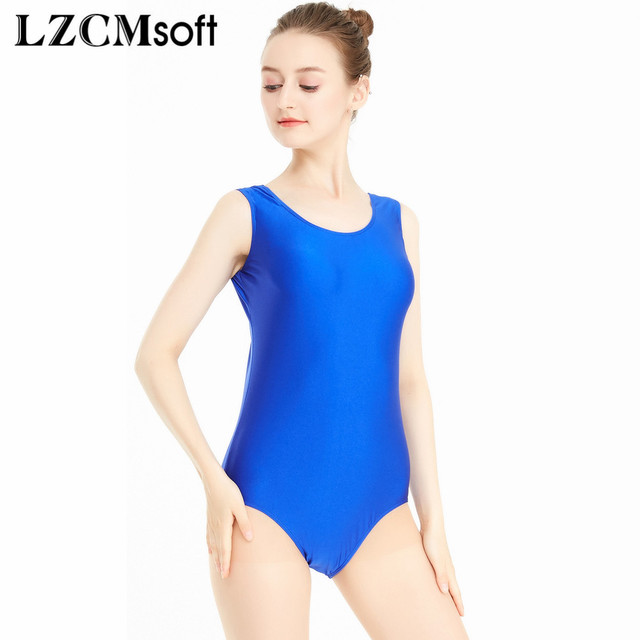 ba0545bc8b61 LZCMsoft Blue Scoop Neck Tank Leotards for Girls Gymnastics Leotards ...