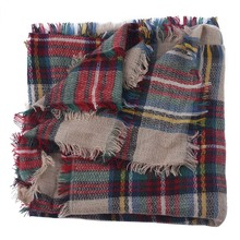 Delicate Wool Blend Blanket Oversized Tartan Scarf Wrap Shawl Plaid Checked Pashmina Nice Oct21