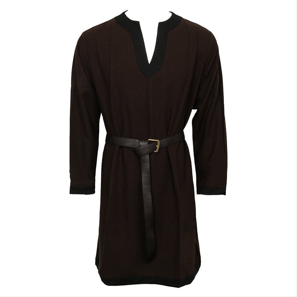 Halloween Men's Medieval Retro Loose Costume Top Stand Collar Bandage Long Sleeve Solid T-Shirts without belt