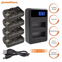 4X BP 511 BP511 BP 511A Rechargeable Battery+LCD Dual Charger For Canon EOS 40D 300D 5D 20D 30D 50D 10D D60 G6 G5 G3 G2 G1 L25