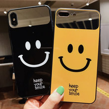 VR VAVA Hard Case Makeup Mirror Phone Cases For iPhone 8 7 Plus X XS XR Xs Max 6 Cute Smiley Face Cover