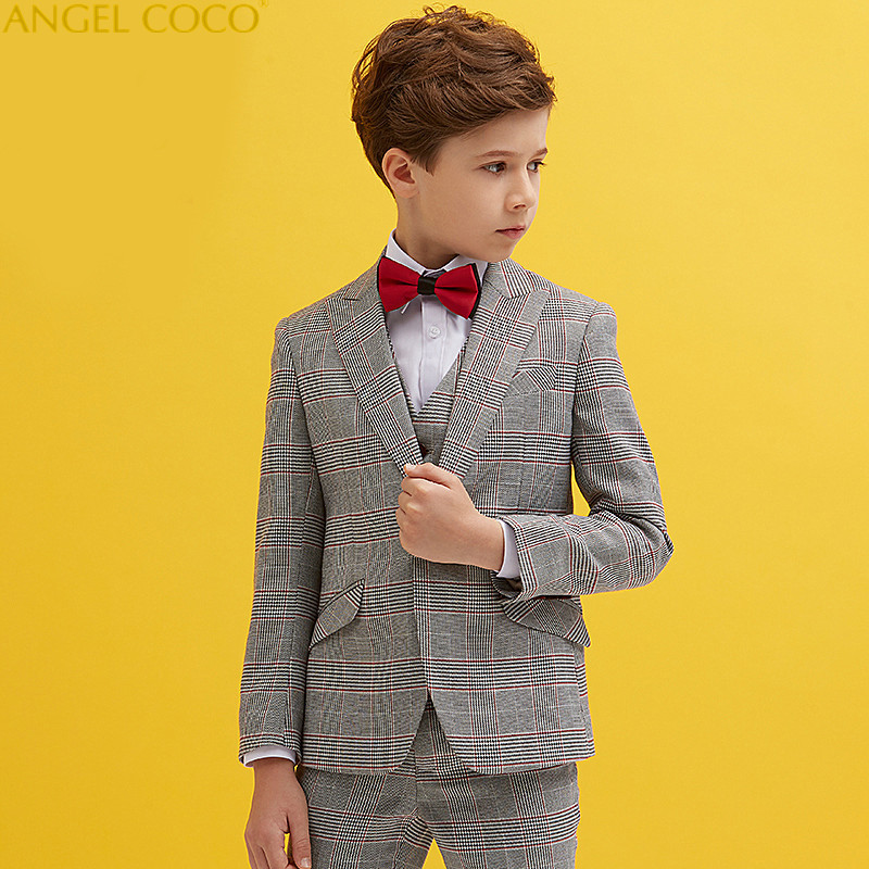 England Plaid Boys Blazer 3 Pcs Wedding Suits For Boy Formal Dress Suit Boys Wedding Suit Kid Tuxedos Page Boy Outfits boys suits 3 piece wedding suit prom page boy baby formal party 3 colours
