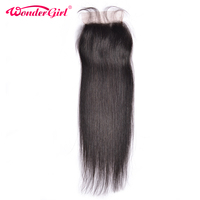 Wonder Girl Straight Closure Brazilian Remy Hair 4x4 Lace Closure With Baby Hair Natural Color 100
