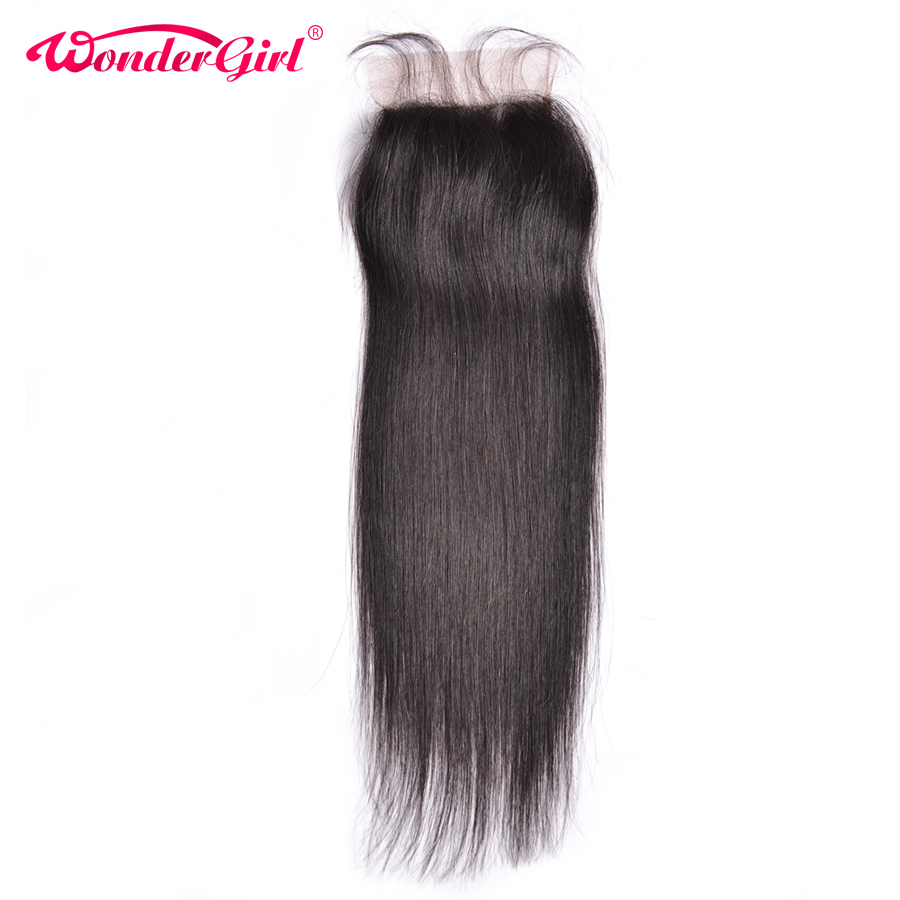 Wonder pige Brasilian Straight Closure 4x4 Lace Closure Med Baby Hair Natural Color Remy Hair 100% Menneskehår Gratis fragt