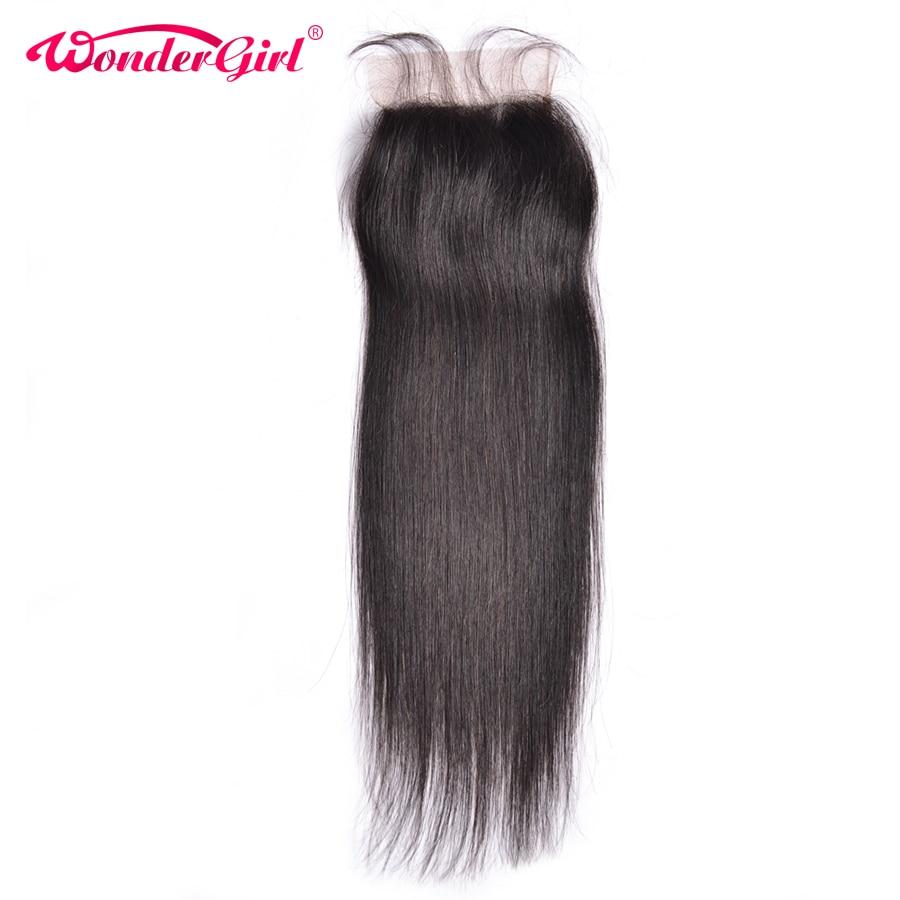Wonder Girl Brazilian Straight Closure 4x4 Snörning med babyhår Naturlig Färg Remy Hair 100% Människohår Gratis frakt