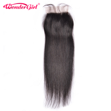 Wonder girl Brazilian Straight Closure 4×4 Lace Closure With Baby Hair Natural Color Remy Hair 100% Human Hair Free Shipping