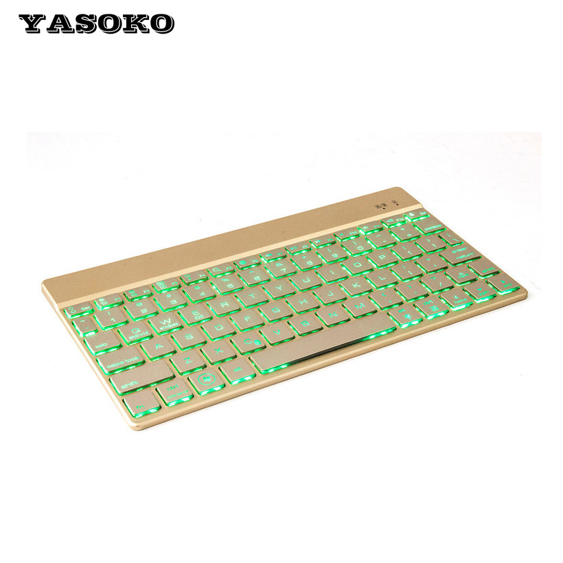 High quality Wireless Bluetooth Keyboard Ultra Slim Aluminium With LED Backlight Keyboard suit Android Windows IOS