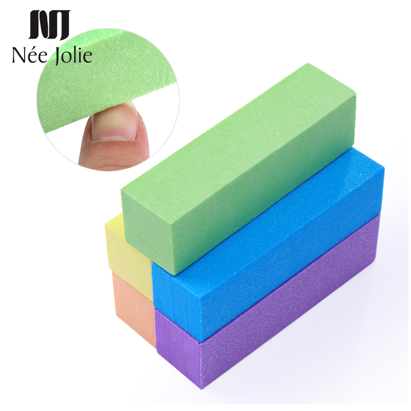 NEE JOLIE 10Pcs/lot Colorful Nail Buffers Set Sanding Grinding Polishing Sponge Block File Tips Manicure Pedicure Nail Art Tool