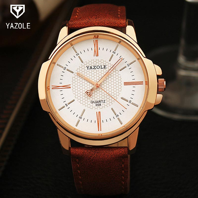 YAZOLE Rose Gold Wrist Watch MenTop Brand Luxury Famous Male Clock Quartz Watch Golden Wristwatch Quartz-watch Relogio Masculino new listing yazole men watch luxury brand watches quartz clock fashion leather belts watch cheap sports wristwatch relogio male