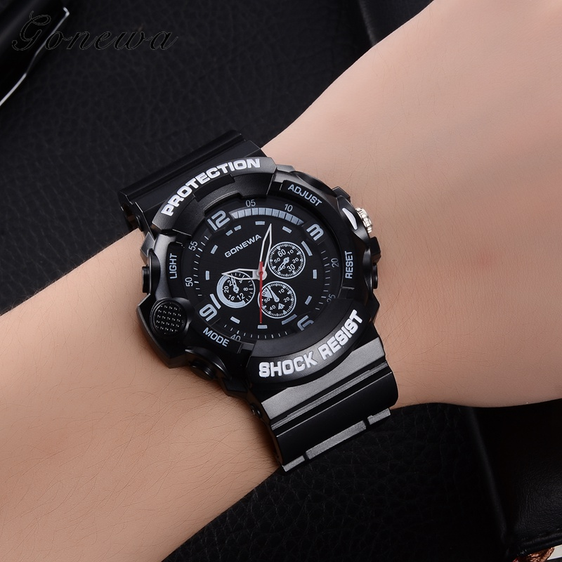 2017 New Gonewa Brand Top Luxury Men Watches Fashion Simple Black Dress Sport Outdoor Watches Man Casual Silicone Wrist Watch