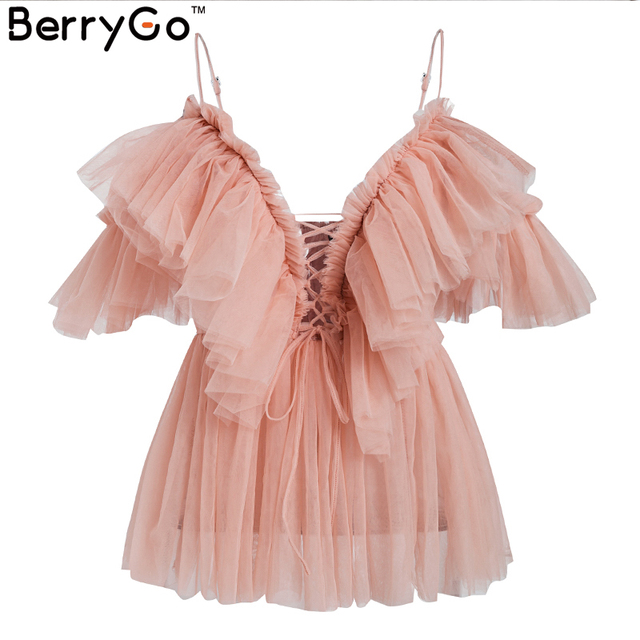BerryGo women blouse Vintage ruffle summer blouses shirt tops Off shoulder sexy peplum top female Mesh backless blouse blusas 5
