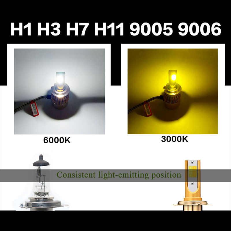 GZ KAFOLEE Double color Car Headlight H1 Led H3 H4 H7 H1 Led 3000K 6000K 9600LM H8 H9 H11 HB3 9005 HB4 9006 9012 Auto Headlight