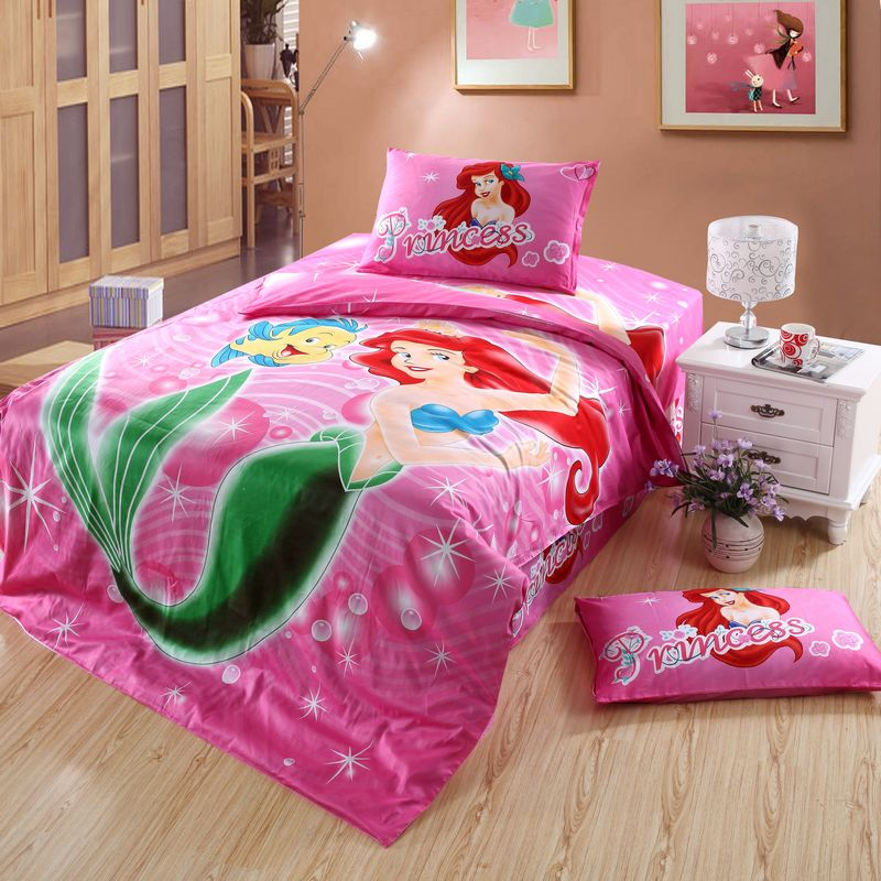Character ariel mermaid princess bedding set single twin size cotton bedspread girl 39 s home decor - Twin size princess bed set ...