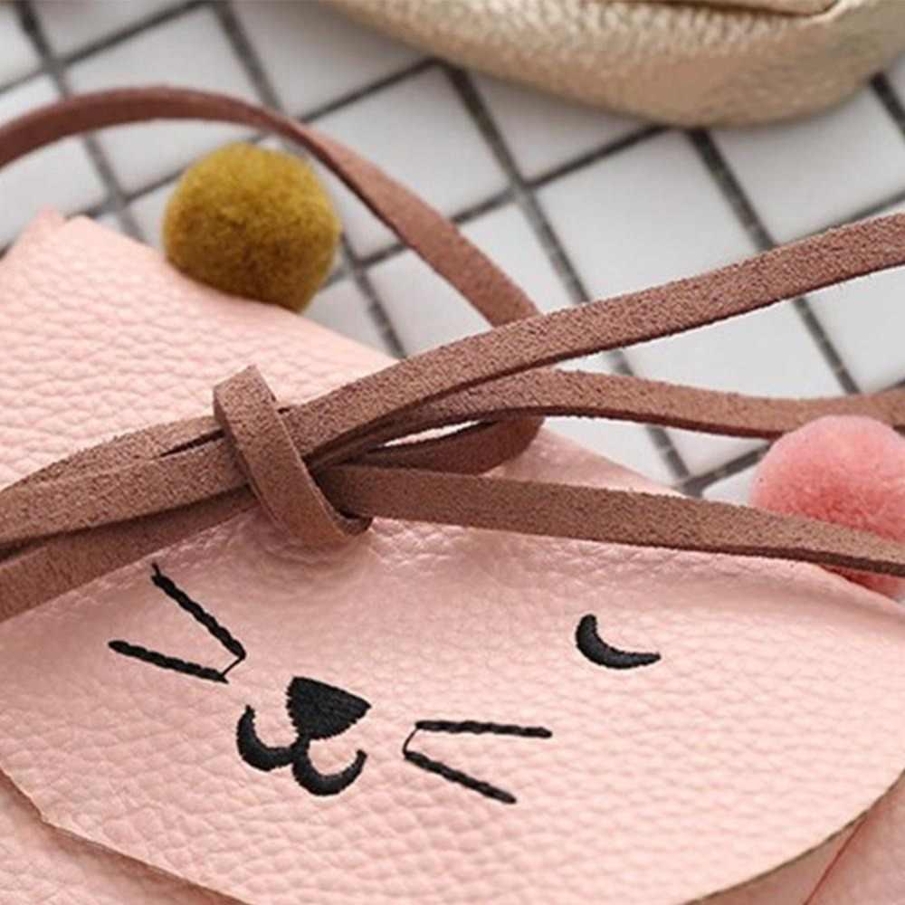 Anak-anak Tas Bahu Mini Telinga Kucing Messenger Tas Sederhana Persegi Kecil Tas Anak Tas All-Match Kunci Dompet Koin Lucu Putri Tas Tangan