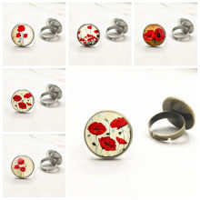 New Arrival Red Poppy Ring Trendy Glass Dome Field Of Poppies Rings Adjustable Steampunk Jewelry(China)