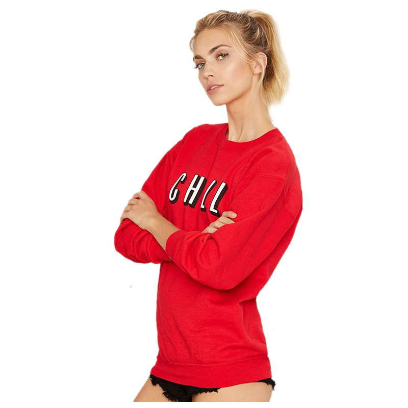 EAS-Women Harajuku CHILL Print Trendy Red Round Neck Solid Short Women Hoodies Casual Sweatshirt Clothing Tops