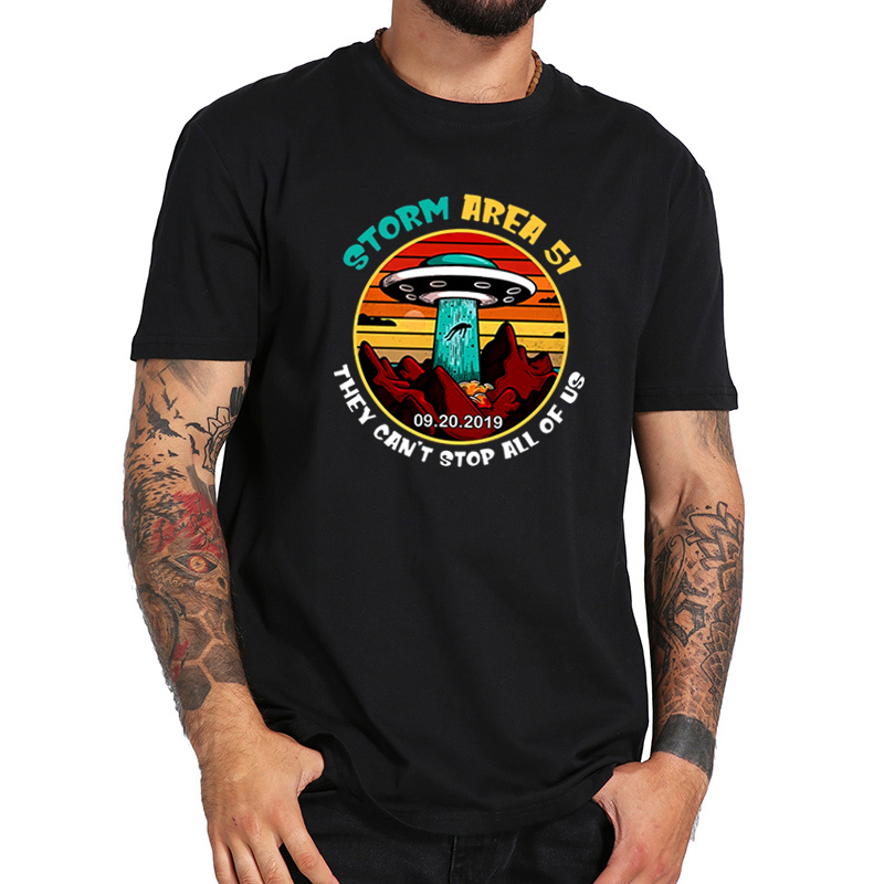 Storm Area 51 T shirt They Can't Stop All Of Us UFO Take People Away Alien Soft Fitness T-shirt EU Size image