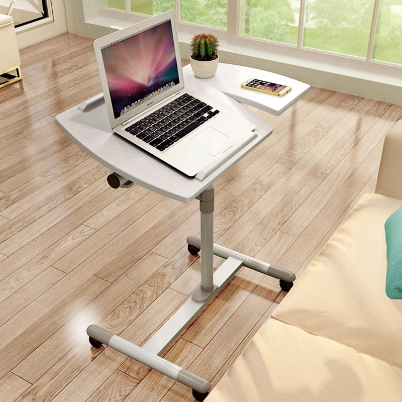 LK579 Portable Simple Laptop Table For Bed Height And Angle Adjustable Computer Desk Office Desk With Universal Brake Wheel
