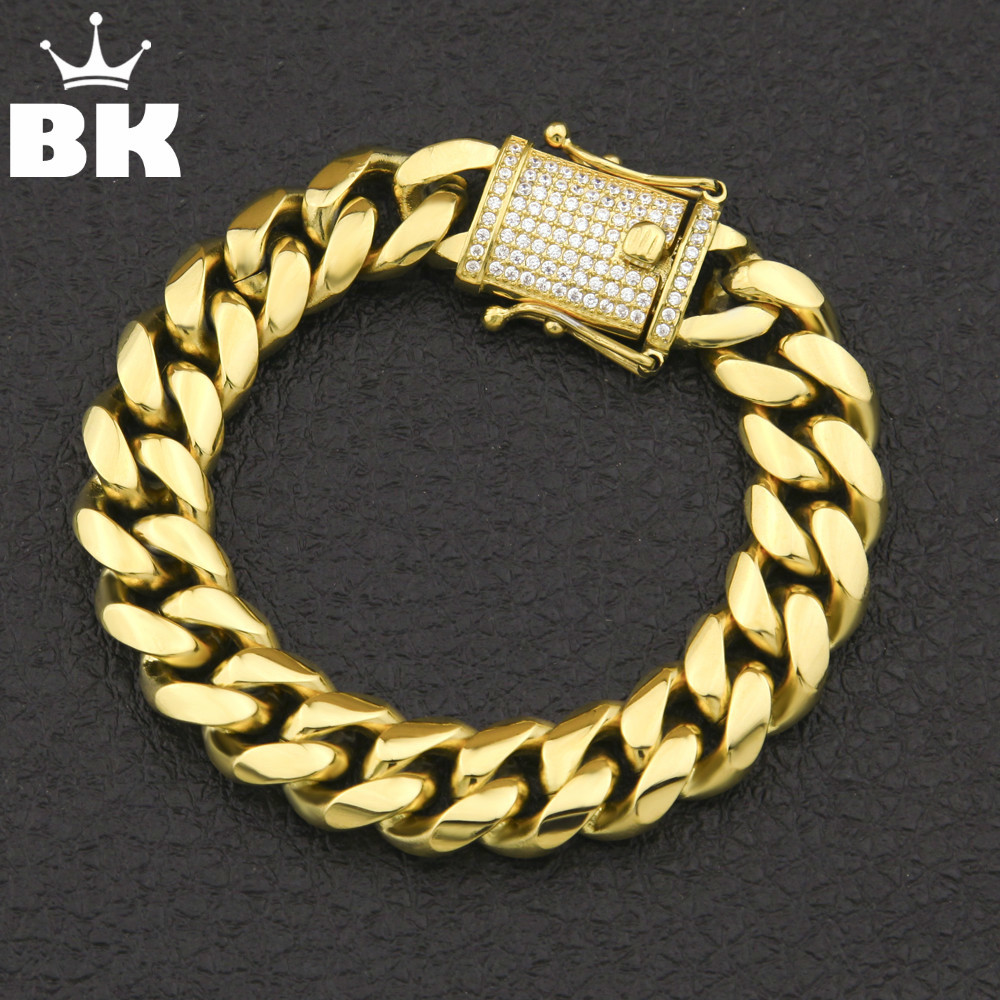 12mm/14mm CZ Stainless Steel Curb Cuban Link Bracelet Gold Silver Plated Hip Hop Micro Paved CZ Mens Miami Bangle 7inch/8inch 8mm 10mm 12mm 14mm stainless steel curb cuban link chain hip hop punk heavy gold silver plated cuban necklace for men