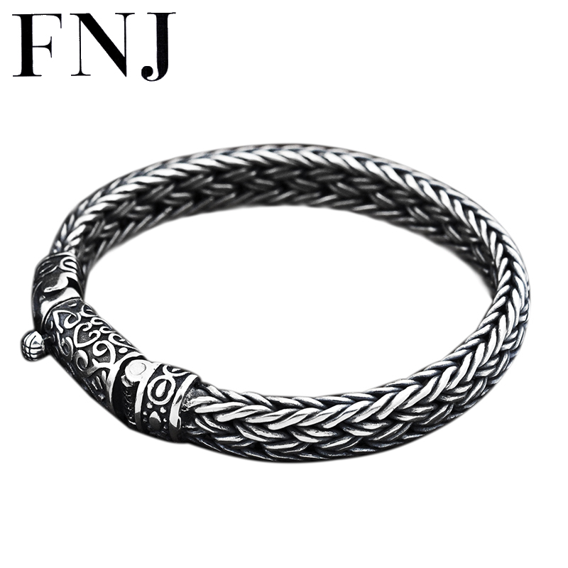FNJ 925 Silver Bracelet 8mm width New Fashion Wire-cable Chain Original S925 Thai Silver Bracelets for Women Men Jewelry new high quality women men noble 925 stamp silver plated bracelets fashion jewelry gifts mens 10mm square nice jewelry bracelet