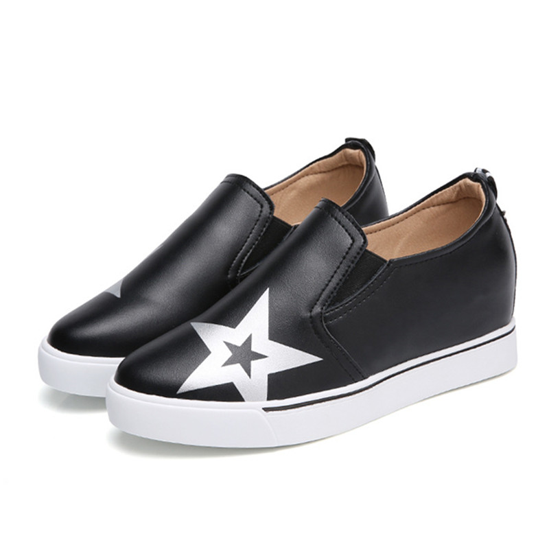 Women Shoes Flats Genuine Leather 2018 Summer Fashion Casual Shoes Woman Flat Work Slip On Increased Internal Walking Loafers