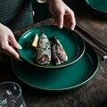 Павлин зеленый золотой тарелка семейный ужин чаша комбинация миска для супа Салатница скандинавский светильник роскошный стиль