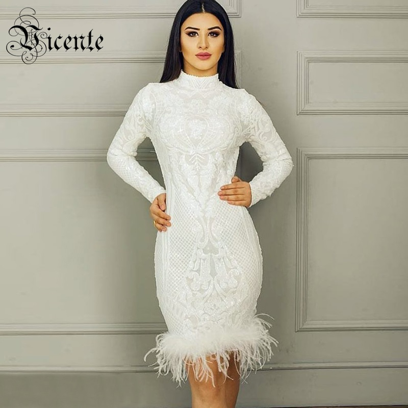 Vicente All Free Shipping HOT2019 New Fashion Sequined Feather Embellished Long Sleeves Celebrity Party Wear Women